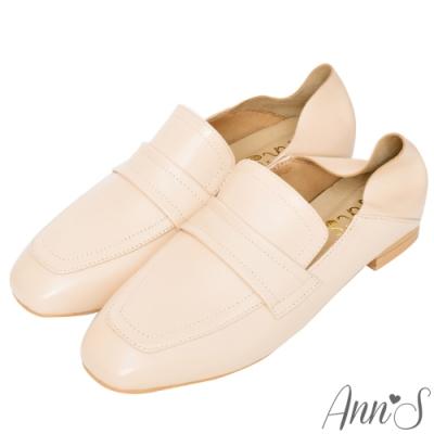 Ann'S會呼吸的舒適-小羊皮全真皮兩穿平底穆勒紳士鞋-杏(版型偏大)