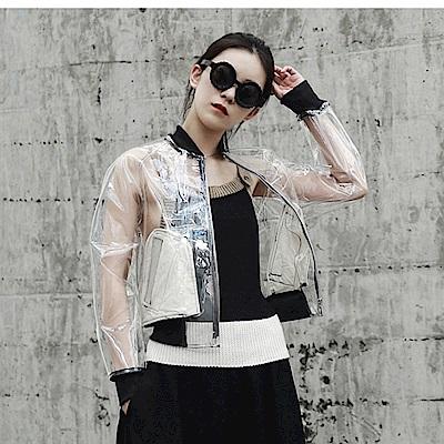 早秋PVC透視透明材質短夾克外套JK-527設計所在