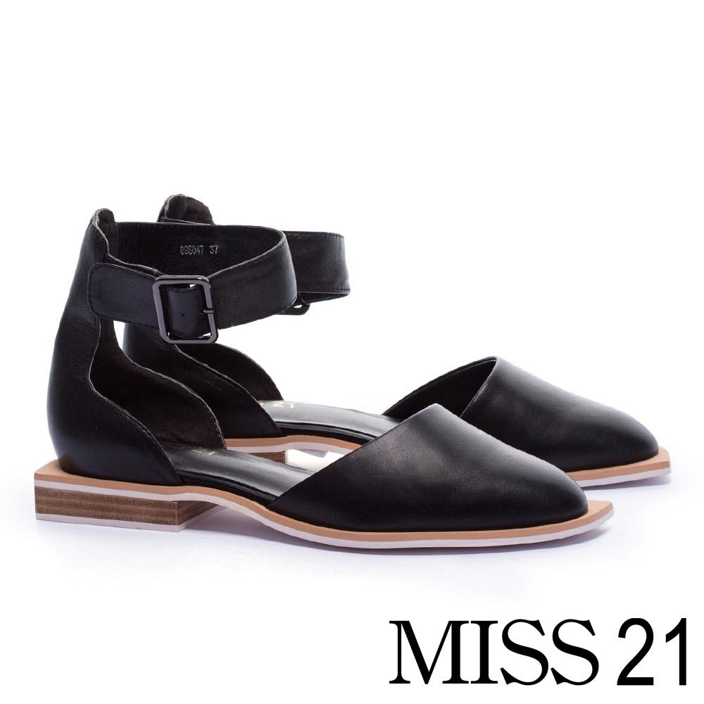 低跟鞋 MISS 21 個性直率踝帶釦造型真皮低跟鞋-黑