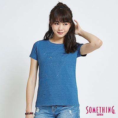 SOMETHING INDIGO靛藍復古繡花 短袖T恤-女-漂淺藍