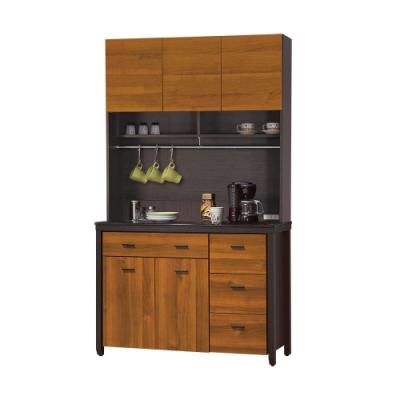 【綠活居】印度 雙色3.9尺雲紋石面餐櫃/收納櫃組合(上+下座)-116x46x201cm免組