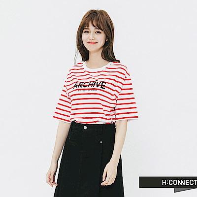 H:CONNECT 韓國品牌 女裝-條紋標語圓領T-shirt-紅