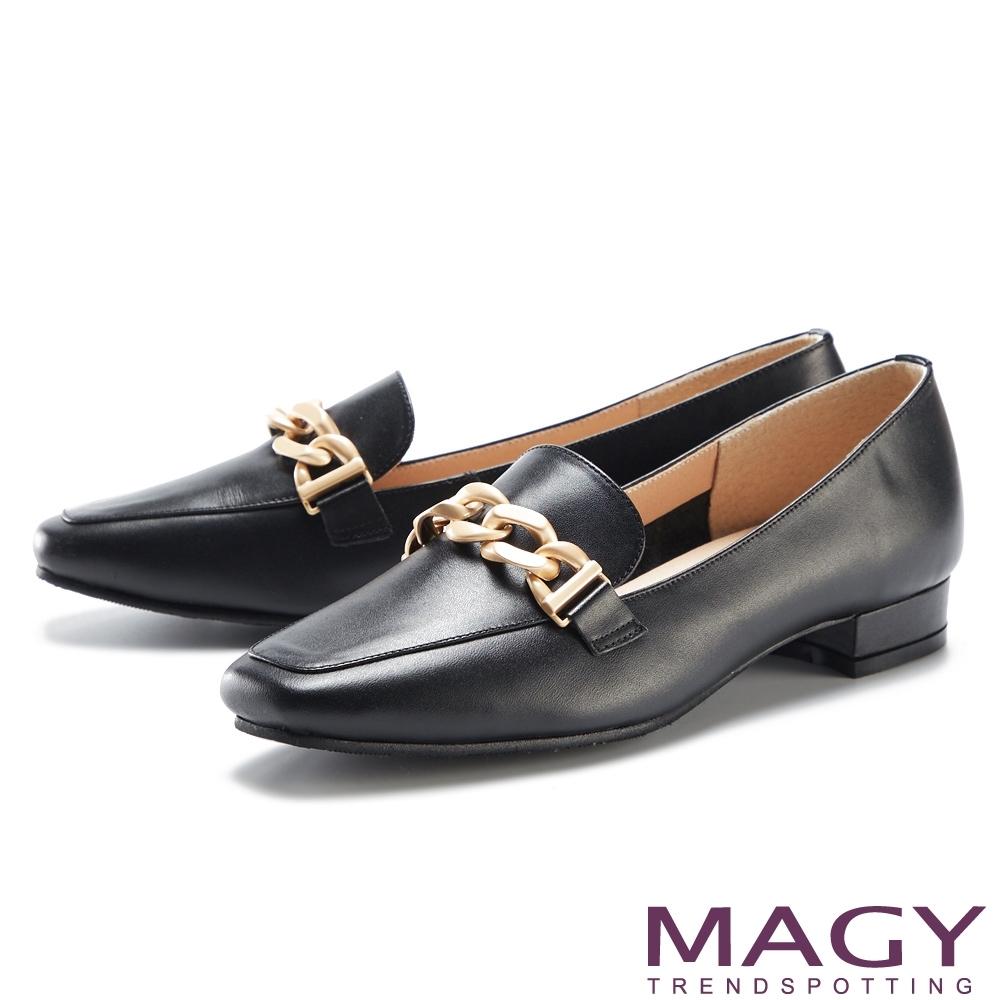 MAGY 金屬串鍊真皮平底 女 樂福鞋 黑色