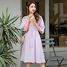高含棉肩刺繡布蕾絲拼接腰綁帶傘襬洋裝-OB大尺碼