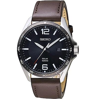 SEIKO精工SPIRIT潮流時尚太陽能腕錶(SNE487P1)-黑