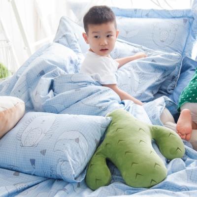 OLIVIA  動物躲貓貓 藍 標準單人床包冬夏兩用被套三件組 200織精梳純棉 台灣製