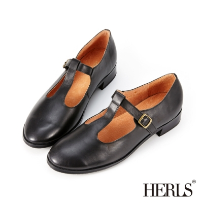 HERLS低跟鞋-全真皮T字瑪莉珍鏤空復古低跟鞋-黑色