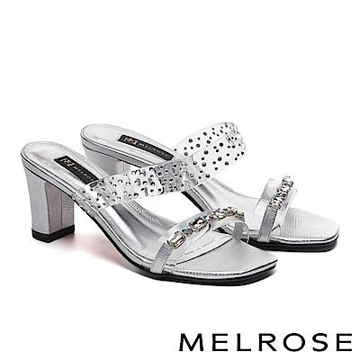 拖鞋 MELROSE 復古奢華晶鑽透明膠片粗高跟拖鞋-銀