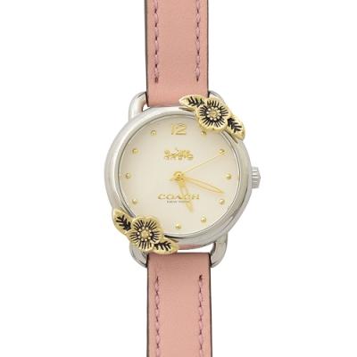 COACH 簡約款LOGO立體花朵裝飾邊手錶(粉)