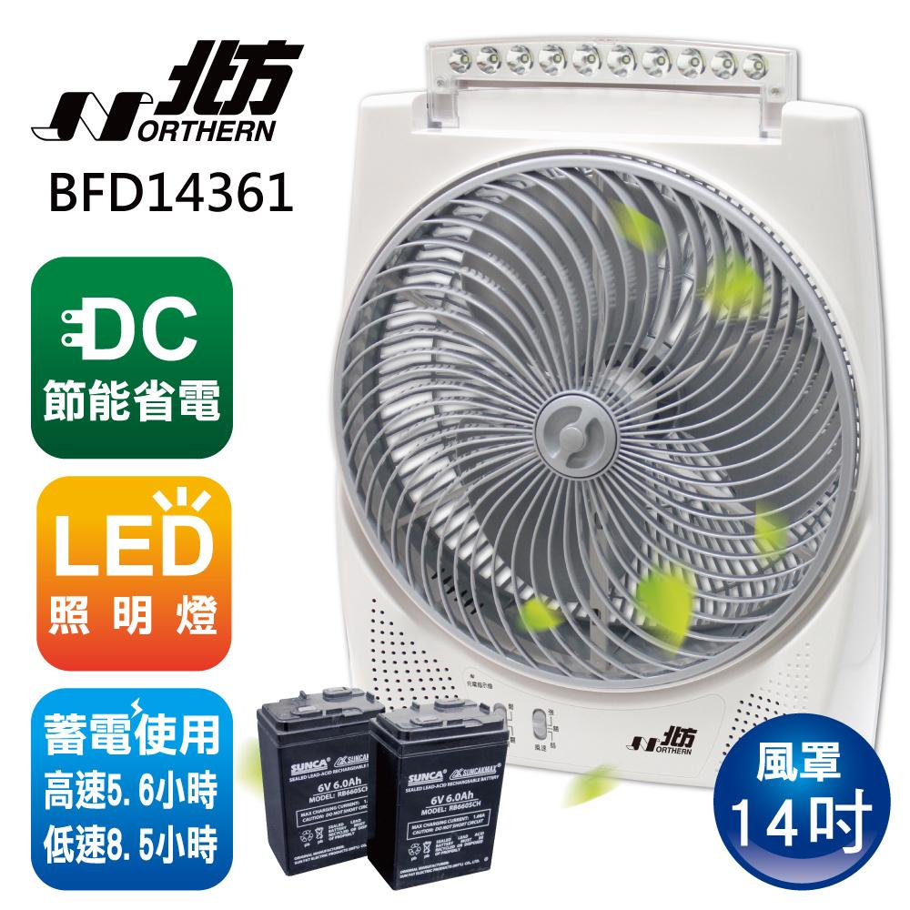 北方14吋風罩充電式DC節能箱扇BFD14361