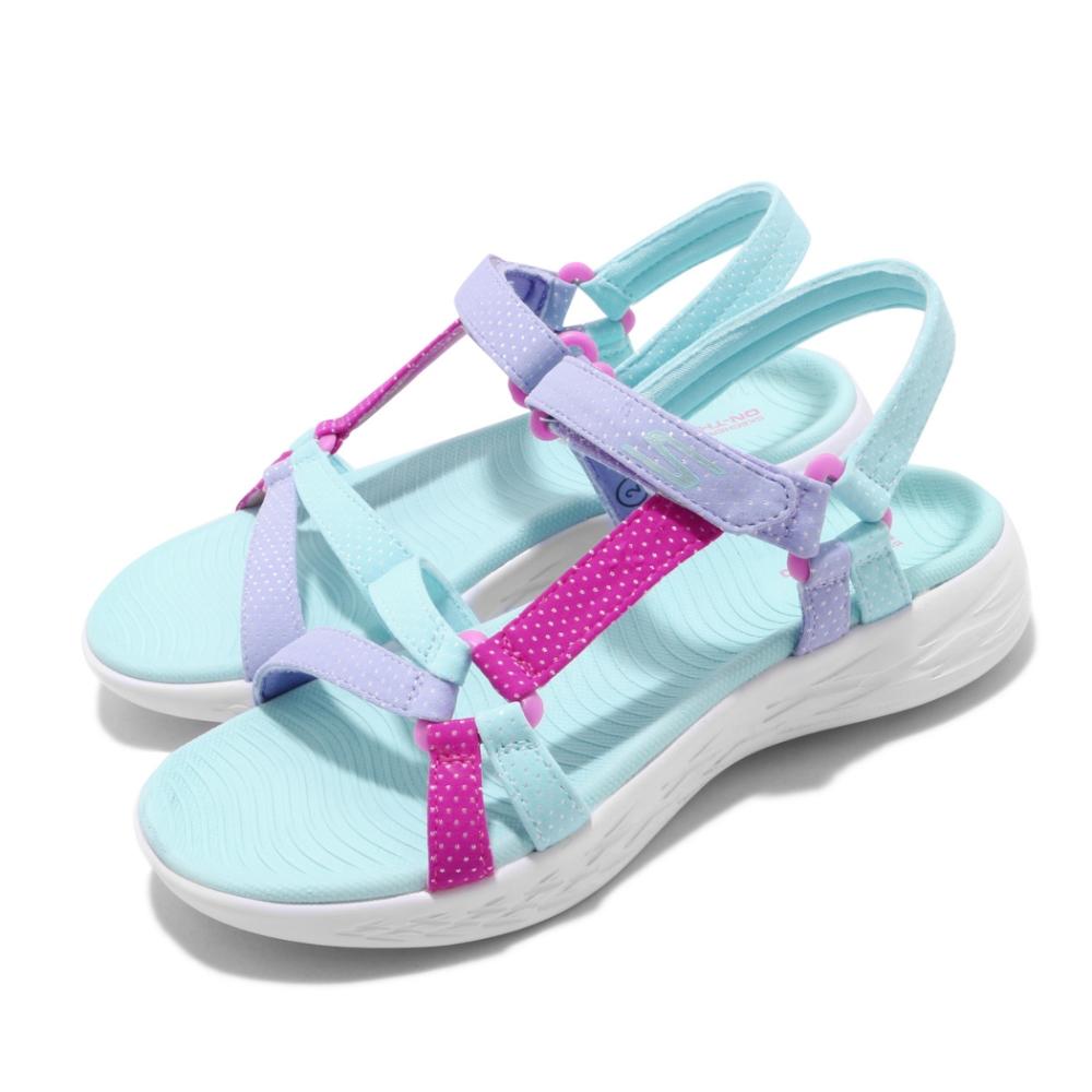 Skechers 涼拖鞋 On The Go 600 休閒 童鞋 夏日 涼爽 透氣 穿搭 中大童 藍 紫 302117LAQUA
