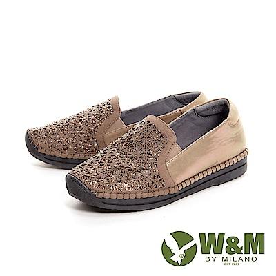 W&M 花型亮鑽質感光澤休閒平底 女鞋-卡其(另有黑)