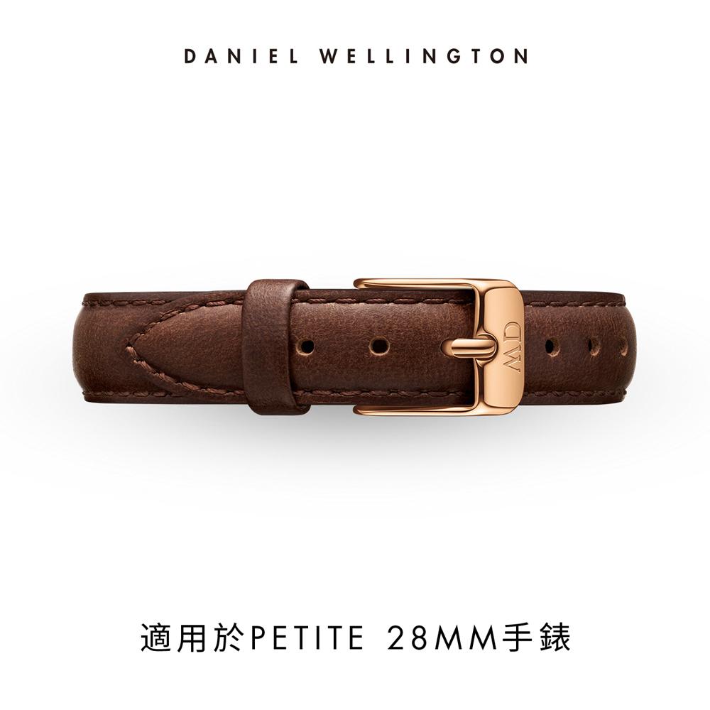 DW 錶帶 12mm玫瑰金扣 深棕真皮皮革錶帶