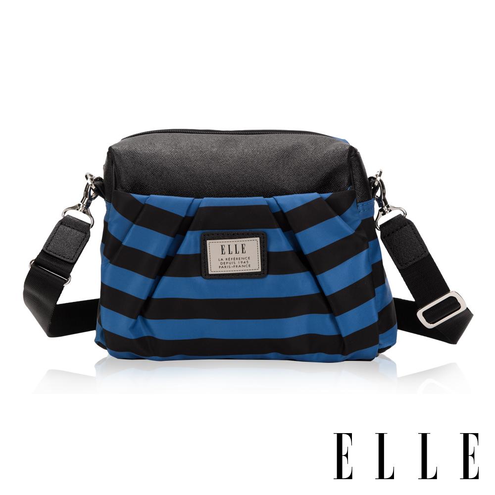 ELLE 法式淑媛海軍風拉鍊式設計款側背小包-藍黑條紋
