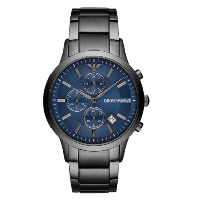 EMPORIO ARMANI 雋永時代三眼腕錶-槍灰X藍(AR11215)43mm