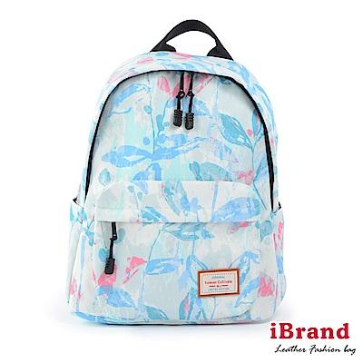 iBrand 學院風印花潮流防潑水口袋後背包-水墨花