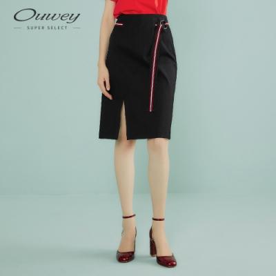 OUWEY歐薇 簡約都會感彈性開衩裙(黑)