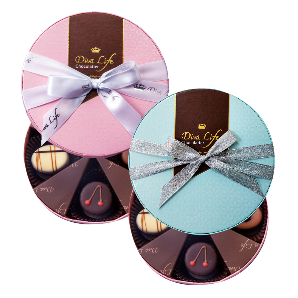 Diva Life 比利時巧克力4入 (圓形禮盒)兩盒組