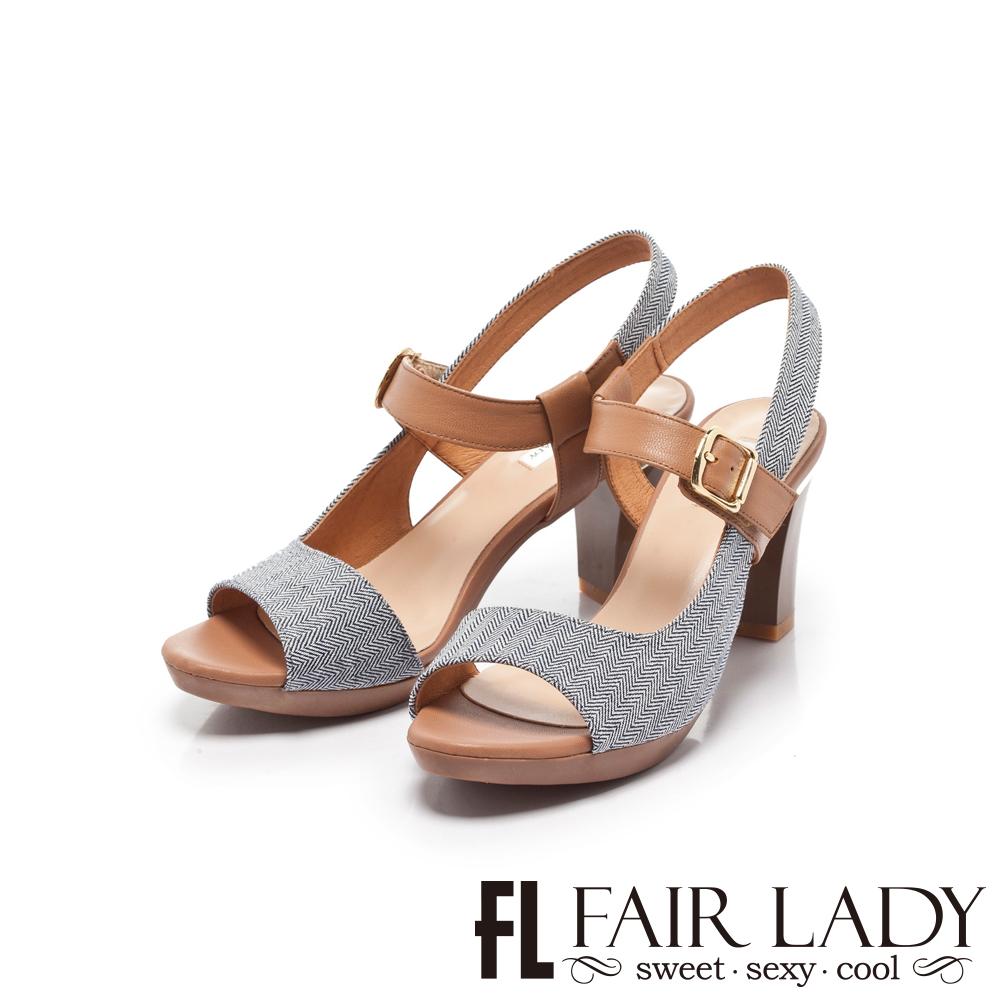 Fair Lady 側挖空扣環拉帶高跟涼鞋 藍布紋