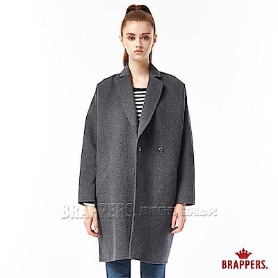 BRAPPERS 女款 手工縫製繭形毛料大衣-深灰