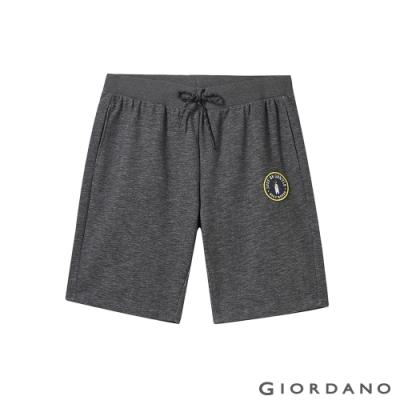GIORDANO 男裝企鵝刺繡棉質休閒短褲 - 42 仿段彩黑