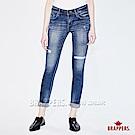 BRAPPERS 女款 彈性割破窄管褲-藍