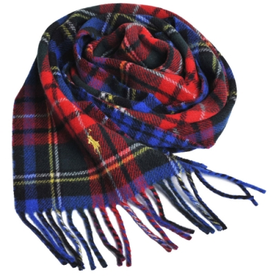 RALPH LAUREN POLO 小馬刺繡LOGO蘇格蘭格配羊毛圍巾(紅寶藍格/黃馬)