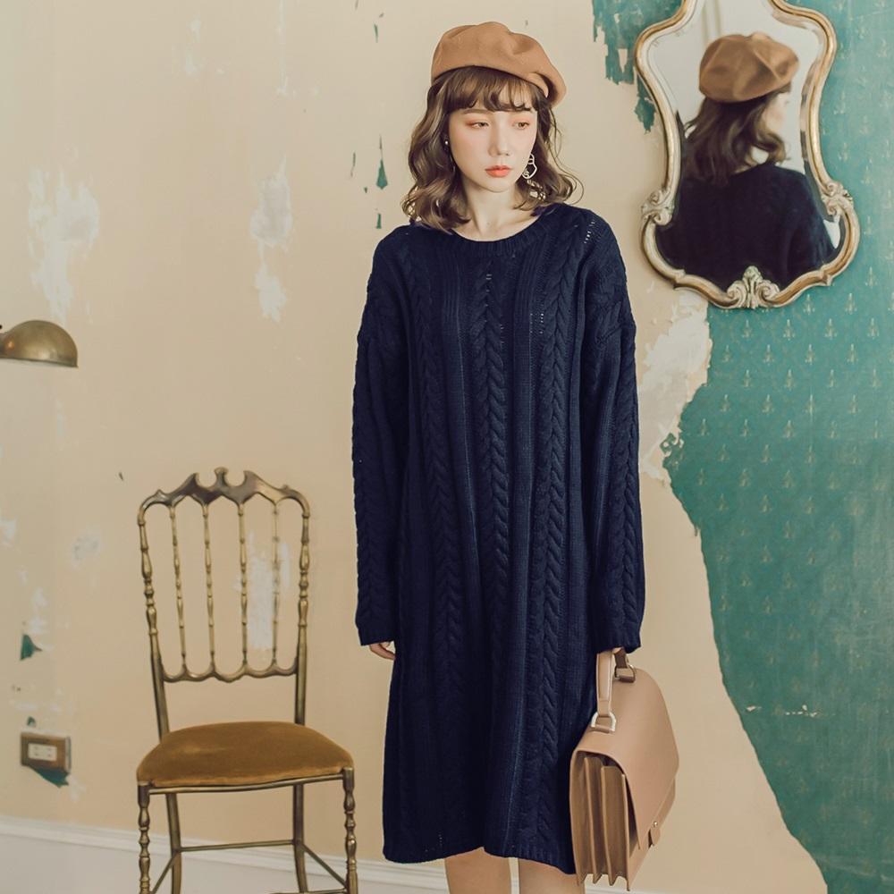 純色麻花針織洋裝-OB嚴選