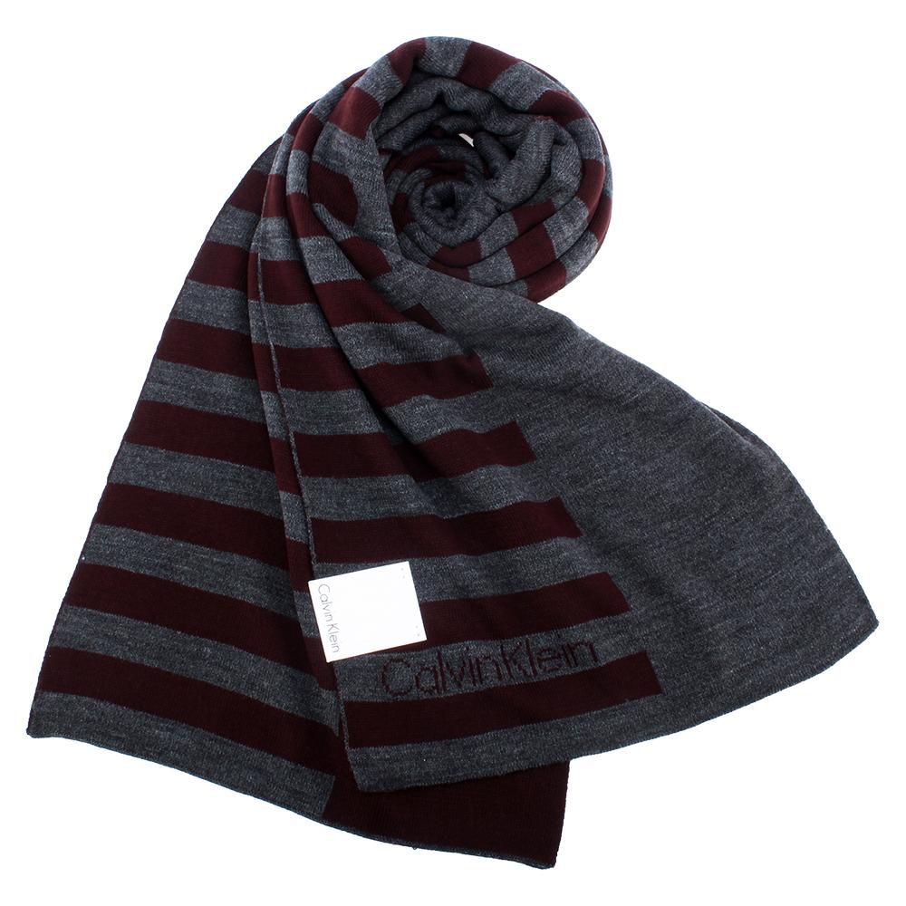 Calvin Klein CK 學院風格條紋針織圍巾-深紅色 @ Y!購物