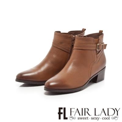 Fair Lady釦帶皮革拼接中筒粗跟短靴 咖