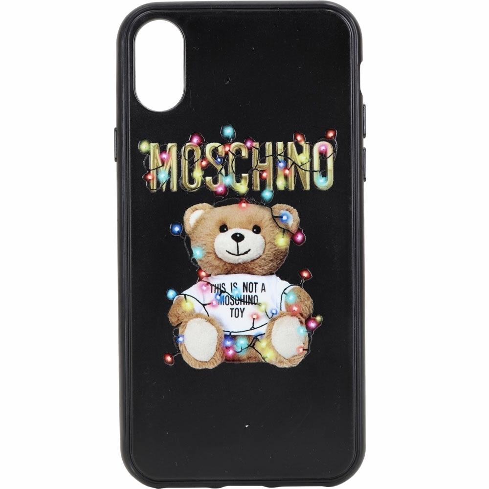 MOSCHINO iPhone X 燈泡泰迪熊印花手機殼(黑色)