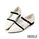 HERLS低跟鞋-全真皮優雅配色瑪莉珍尖頭低跟鞋-白色 product thumbnail 1