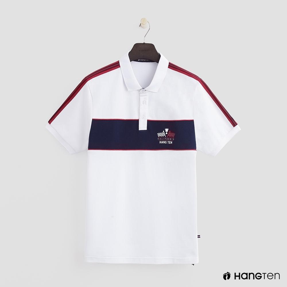 Hang Ten - 男裝 - 帥氣logo色塊拼接POLO衫 - 白