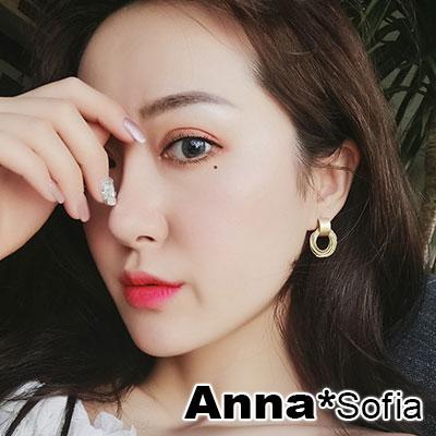 【3件5折】AnnaSofia 層轉璇線 925銀針耳針耳環(金系)