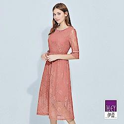 ILEY伊蕾 縷空造型五分袖蕾絲長版洋裝(粉)