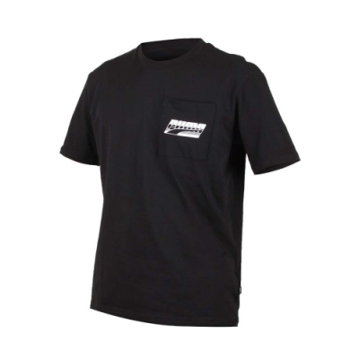 PUMA 男基本系列口袋短袖T恤-慢跑 路跑 黑白