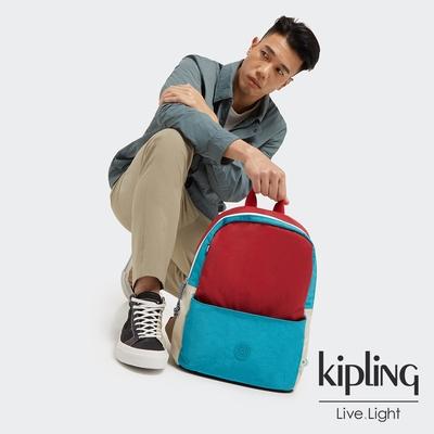 Kipling 個性藍撞色設計經典實用後背包-SONNIE