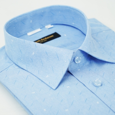 【金‧安德森】三點藍色窄版短袖襯衫