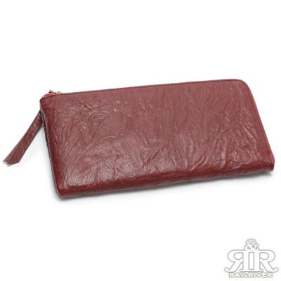2R 首爾空運★捏皺山羊皮護照拉鍊長夾 漾紅