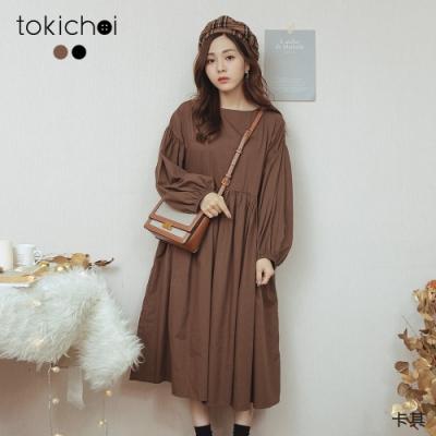 東京著衣 隨興甜美素色後排釦寬袖洋裝(共二色)