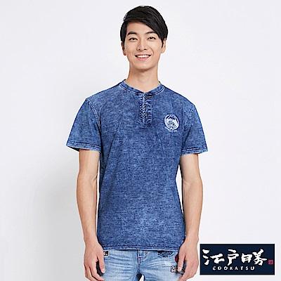 EDO KATSU江戶勝 INDIGO雪花洗亨利領 短袖T恤-男-漂淺藍