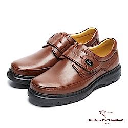 CUMAR舒適真皮 萬年不敗款綿羊皮魔鬼氈氣墊鞋-咖