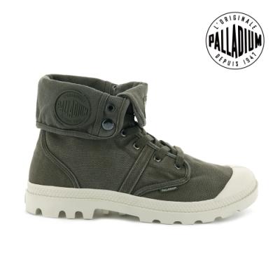 PALLADIUM PALLABROUSE反摺帆布靴-男-墨綠 / 白