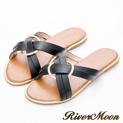 River&Moon大尺碼-率性皮革交叉圓扣金邊涼拖鞋-黑