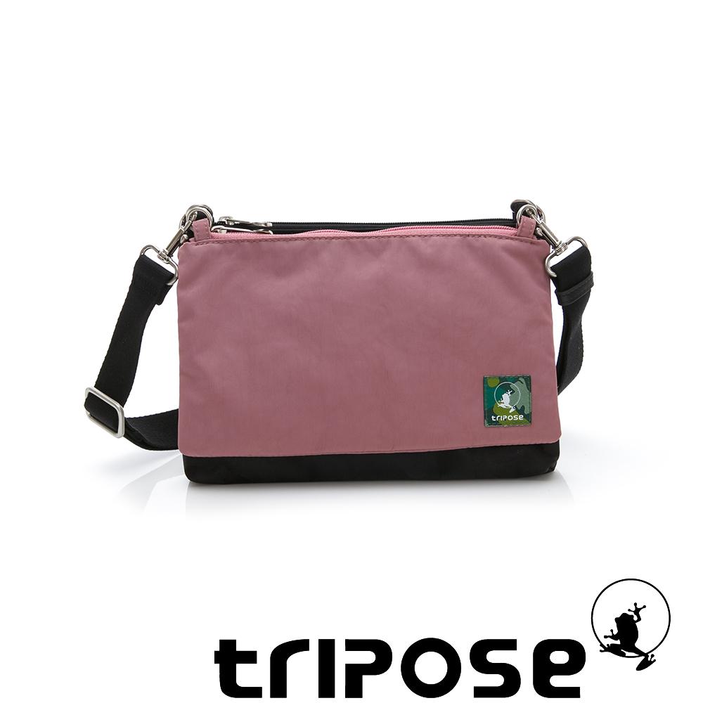 tripose MAJI系列黑迷彩x丁香粉多變斜背包