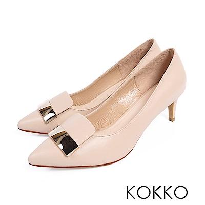 KOKKO - 經典金屬方扣尖頭真皮高跟鞋-美人裸
