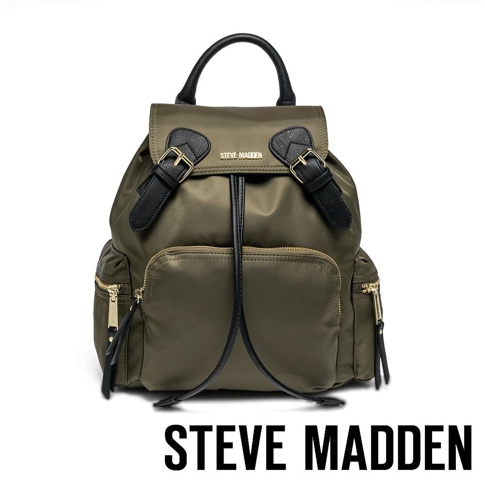 STEVE MADDEN-BSOLLY 時尚有型 超大容量軍旅後背包-墨綠色
