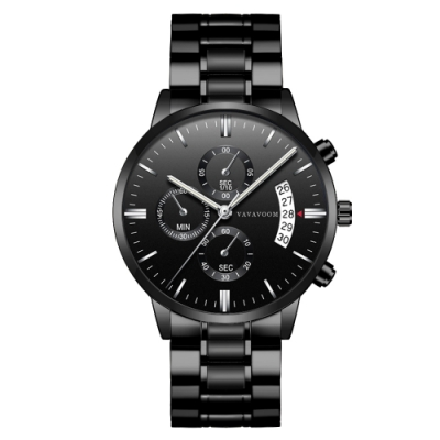 HANNAH MARTIN 謀略者裝飾三眼石英腕錶(HM-VA-G001-SB)