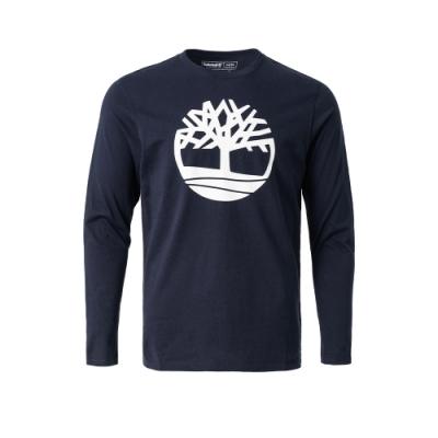 Timberland 男款寶石藍品牌LOGO長袖圓領T恤|A2B7W