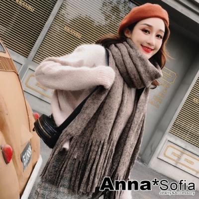 【2件69折】AnnaSofia 繁點長流蘇 仿羊絨加寬加厚披肩圍巾小毯子(褐系)
